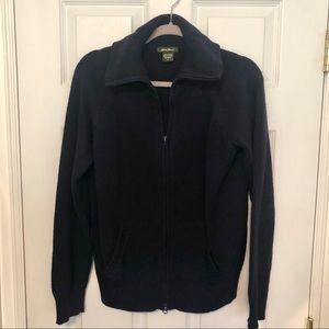 Eddie Bauer 100% Cotton Zip Up Navy Sweater